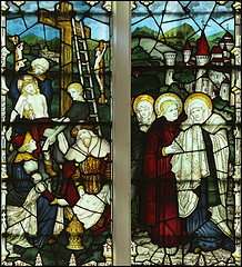 Passion V - Deposition from the Cross:  stained glass detail by Kempe from Little St Mary's church in Cambridge, UK. By Flickr user paullew.