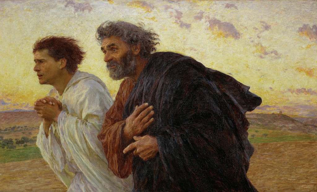 """""""The Disciples Peter and John Running to the Sepulchre on the Morning of the Resurrection"""" by Eugene Burnand."""